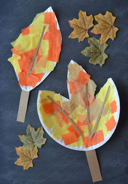 DIY Paper Plate Leaf Kid Craft