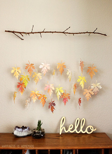 DIY Watercolor Paper Leaf & Branch Mobile