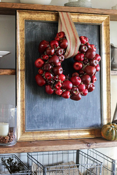 DIY Apple Wreath by TheWoodGrainCottage