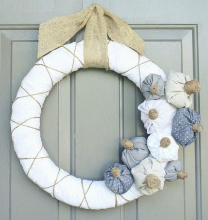 DIY Fabric Pumpkin Wreath by TarynWhiteaker